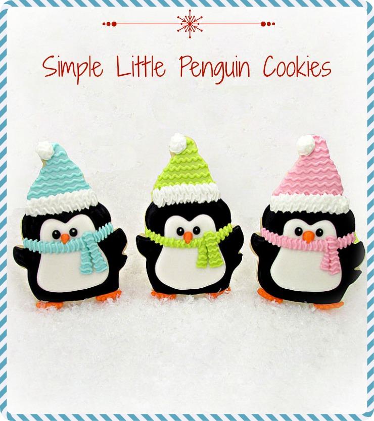 Penguin Cookies -Decorated Christmas Cookies via www.thebearfootbaker.com