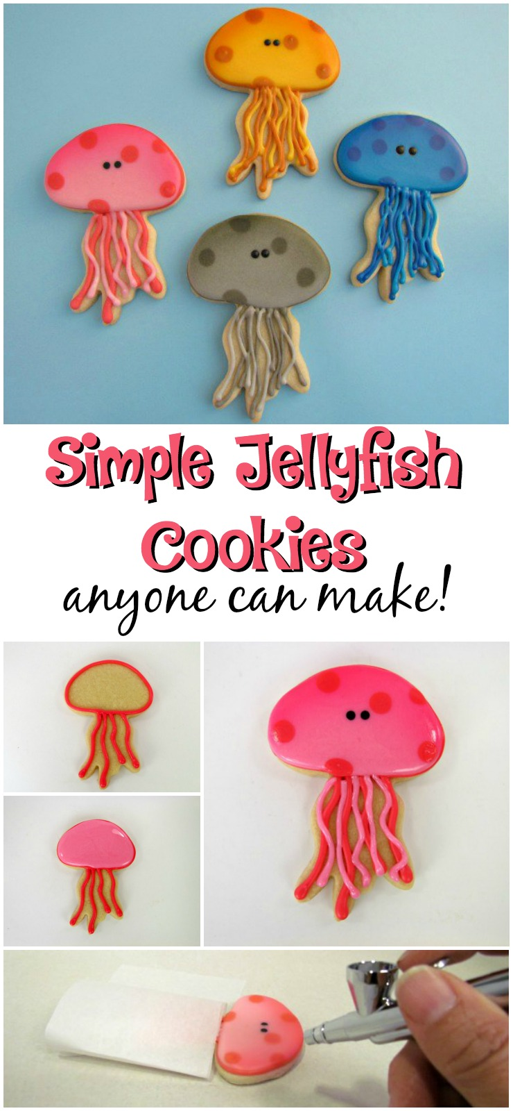 Simple Jellyfish Cookies anyone Can Make via www.thebearfootbaker.com