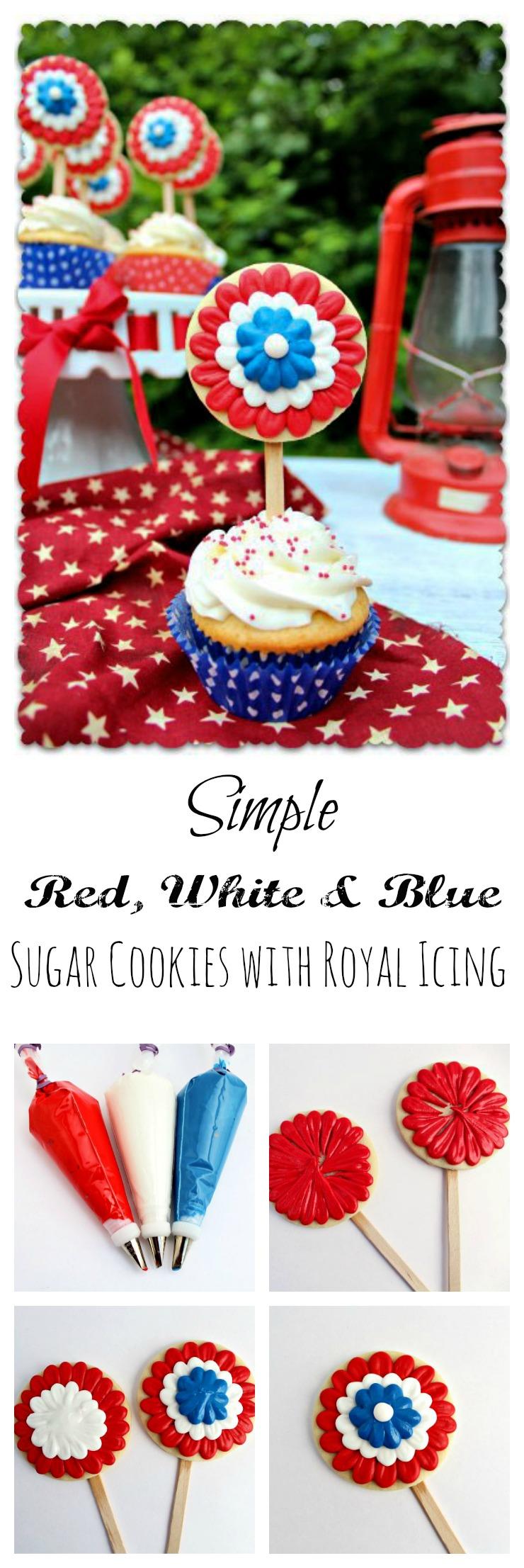 Simple Patriotic Rosette Cookies www.thebearfootbaker.com