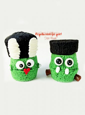 Frankenstein and His Bride Cupcakes by www.thebearfootbaker.com