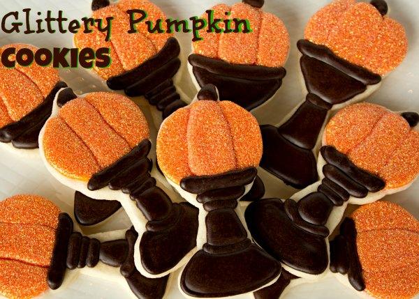 Glittery Pumpkin Cookies thebearfootbaker.com