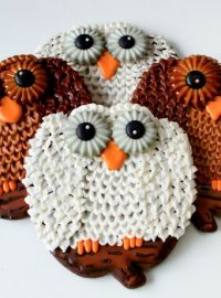 Owl Cookies make with a Pumpkin Cutter by www.thebearfootbaker.com