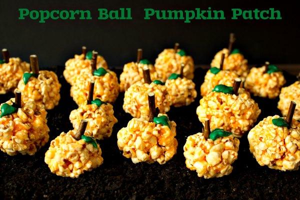 Pumpkin Patch Popcorn Ball the bearfootbaker.com