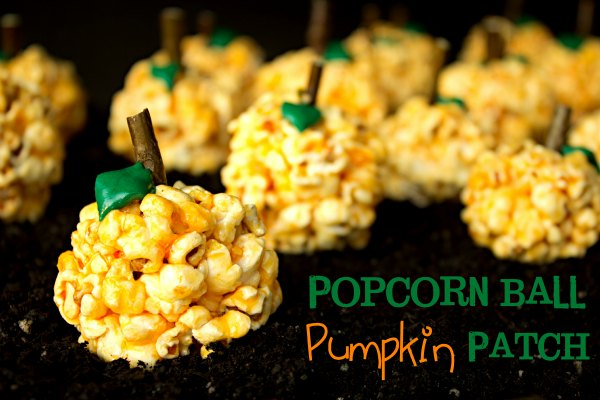 Pumpkin Patch Popcorn Ball the bearfootbaker.com