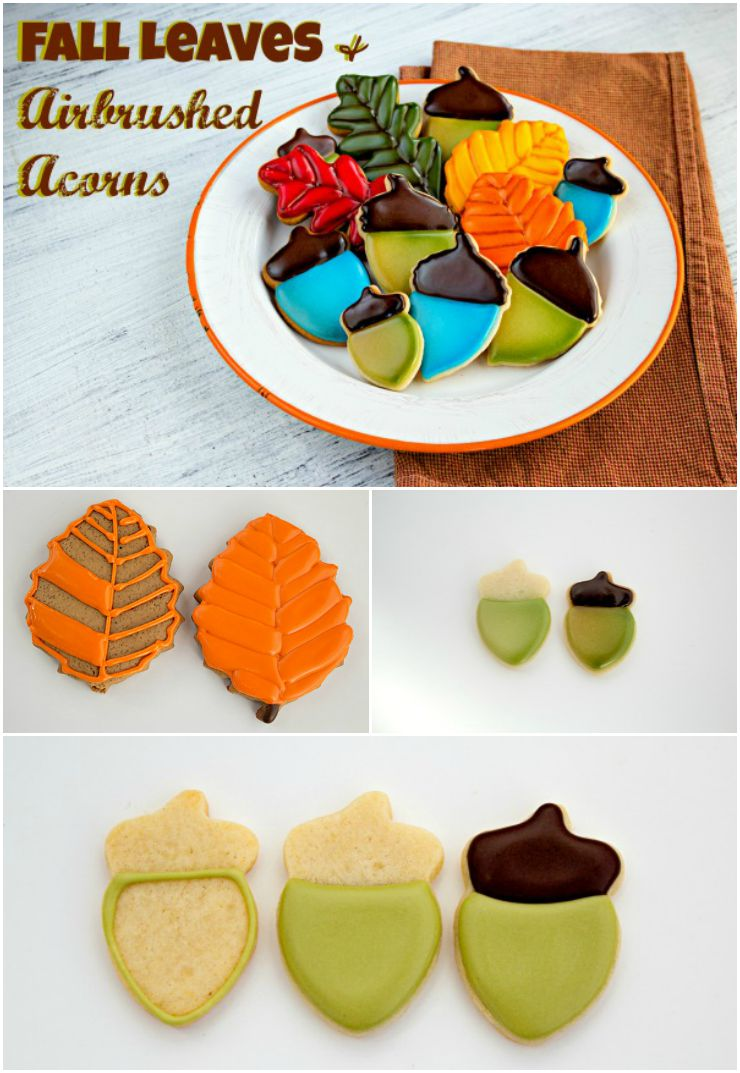 Fall Leaves and Airbrushed Acorn Cookies | The Bearfoot Baker