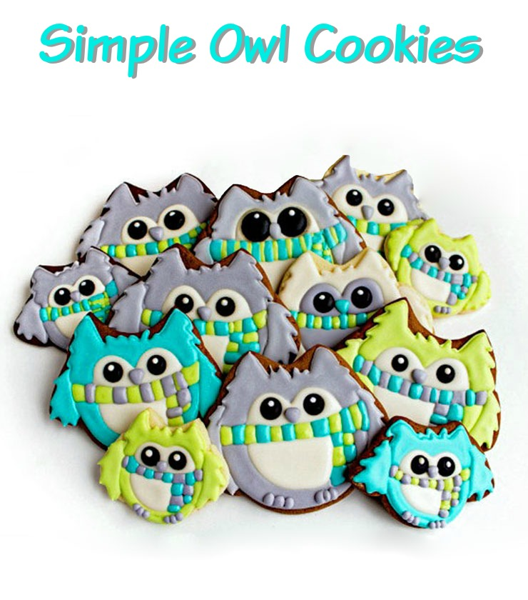 Simple Owl Cookies In Winter Colors  The Bearfoot Baker