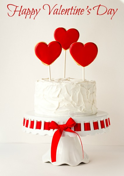 Favorites from 2013-Valentine Cake with 3 Heart Cookies