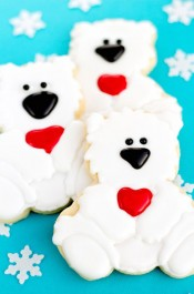 Polar Bear Cookies with a Baby Cutter
