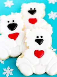 Polar Bear Cookies Decorated Christmas Cookies via www.thebearfootbaker.com