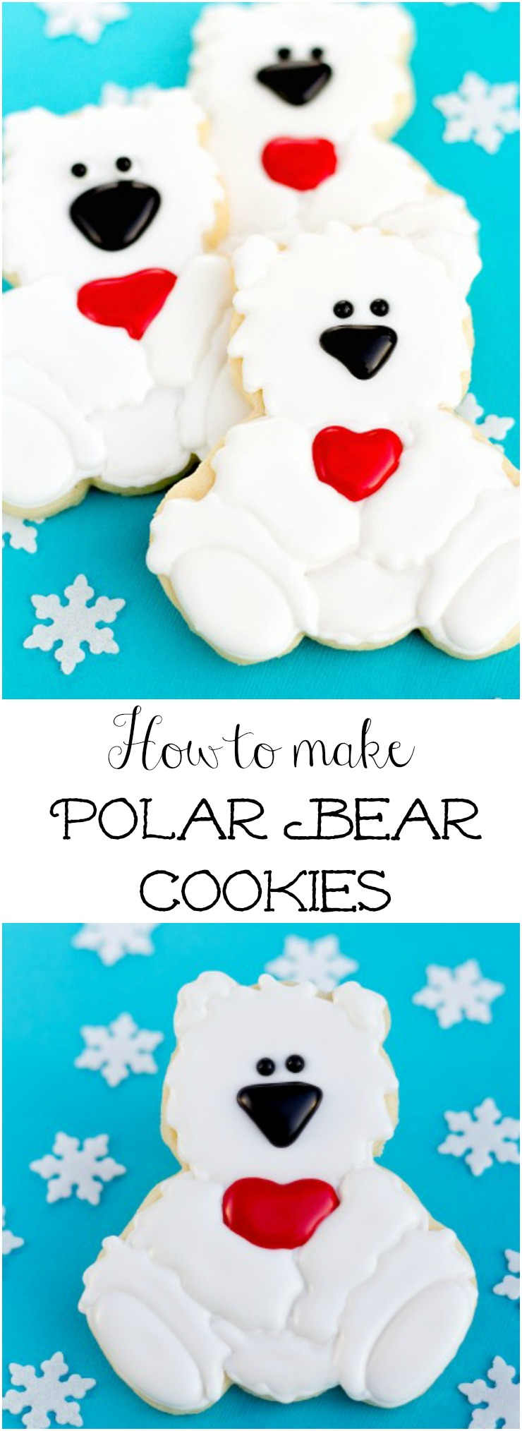 Simple Polar Bear Cookies via www.thebearfootbaker.com