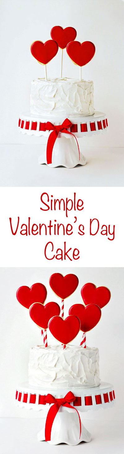 Simple Valentine's Cake with Cookie Pops by thebearfootbaker.com