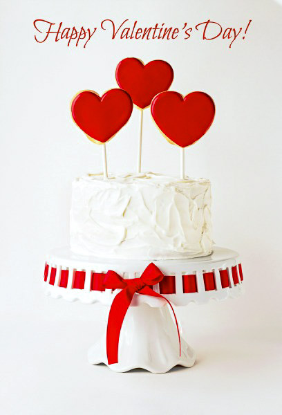 Simple Valentine's Cake with Heart Sugar Cookies | The Bearfoot Baker