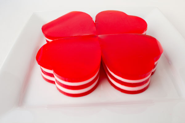 Layered JELL-O-Hearts