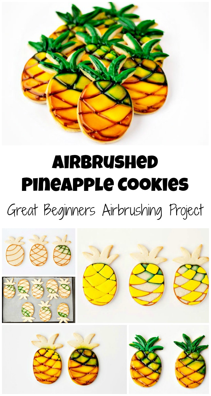 Airbrushed Pineapple Cookies via www.thebearfootbaker.com