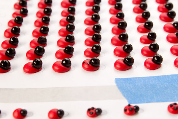 Edible ladybug decorations by www.thebearfootbaker.com