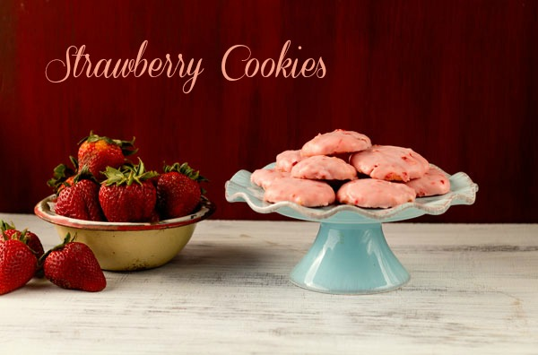 Strawberry Cookie Recipe from a Cake Mix by thebearfootbaker.com
