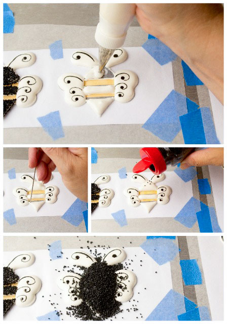 Pretty-Bee-Royal-Icing-Transfers-by-www.thebearfootbaker.com