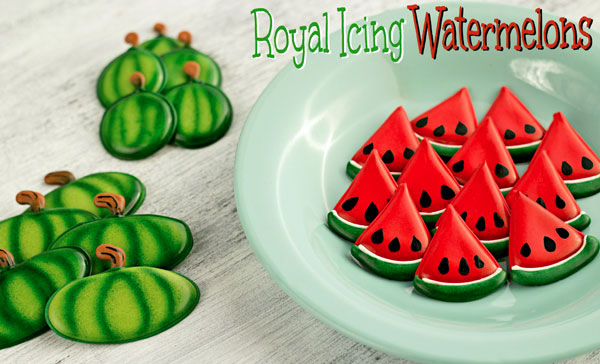 Royal Icing Watermelons - Great cake, cookie and cupcake toppers- www.thebearfootbaker.com