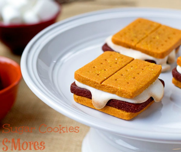 Sugar Cookies that look like Smores thebearfootbaker.com
