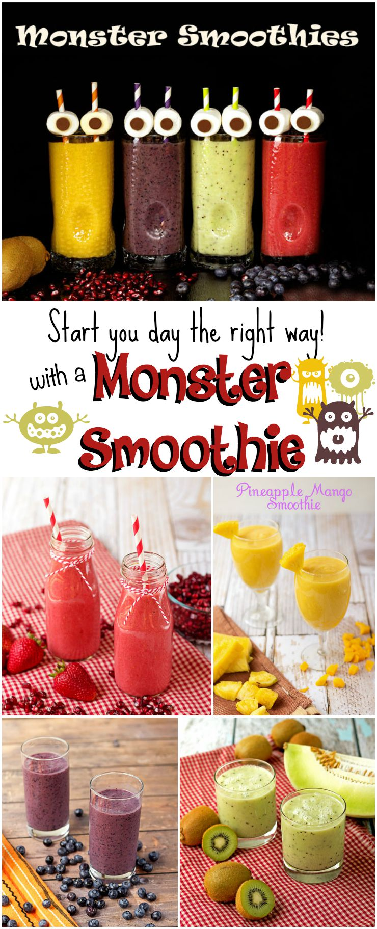 Monster Smoothies to Start your Day Off STRONG-4 Smoothie Recipes via www.thebearfootbaker.com