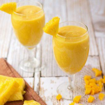 Pineapple-Mango-Smoothies thebearfootbaker.com