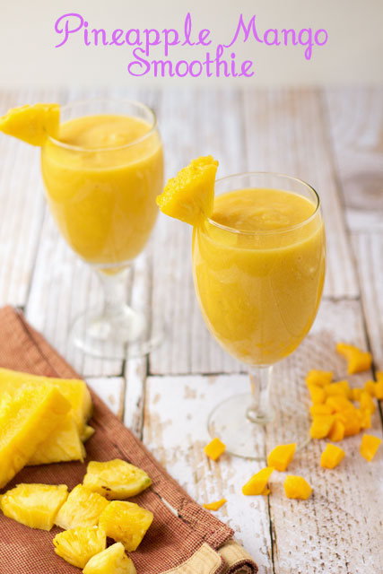 Pineapple-Mango-Smoothies thebearfootbaker.com