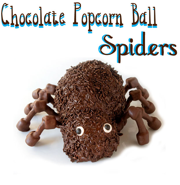 Chocolate Popcorn Ball Spiders via thebearfootbaker.com