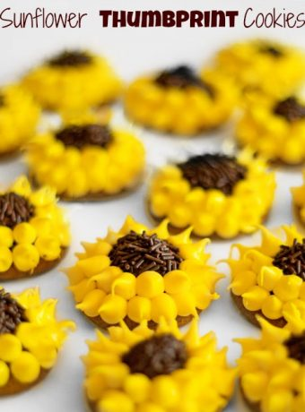 Decorated Thumbprint Cookies Simple Sunflowers thebearfootbaker.com