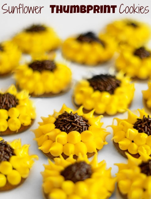 Decorated Thumbprint Cookies-Simple Sunflowers