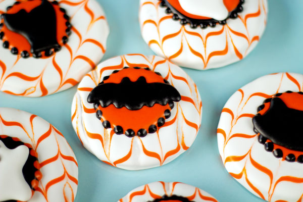 Fun Halloween Cookies Halloween Royal Icing Transfers-Bat-Cat-Ghost-Cat Face thebearfootbaker.com