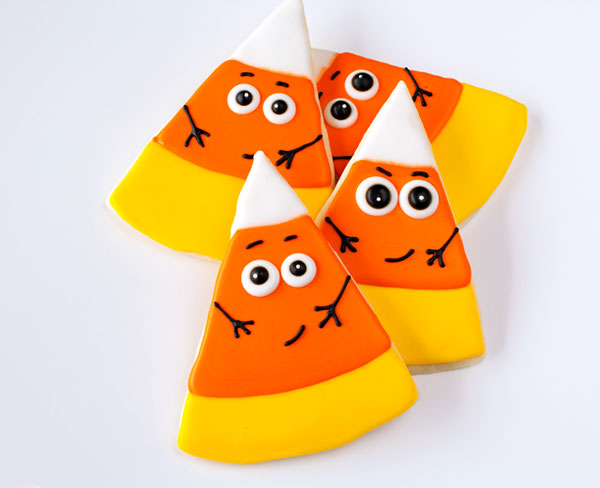 Fun Halloween Treats Candy Corn Cookies via thebearfootbaker.com