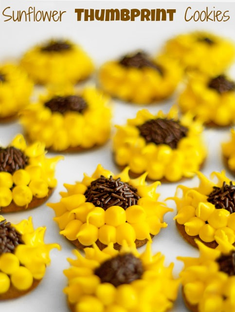 Fun Halloween Treats Decorated Thumbprint Cookies Simple Sunflowers by thebearfootbaker.com