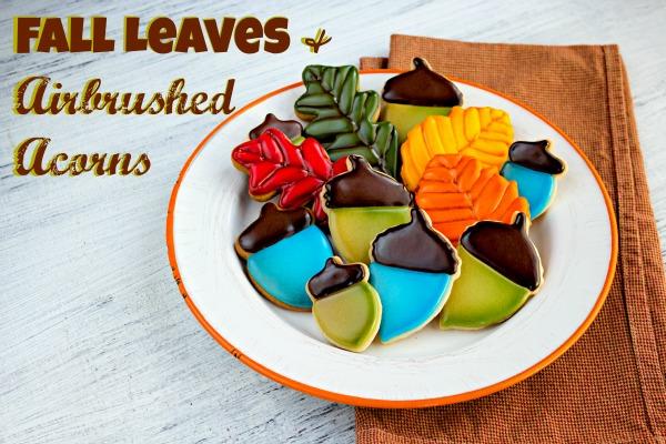 Fun Halloween Treats Fall Cookies Leaves and Acorns via thebearfootbaker.com