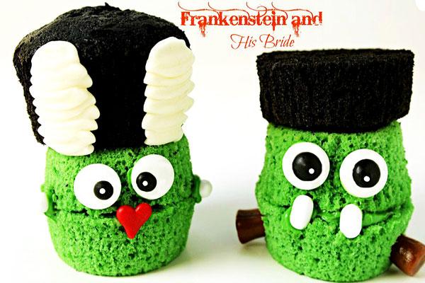 Fun Halloween Treats Frankenstein and Bride via thebearfootbaker.com