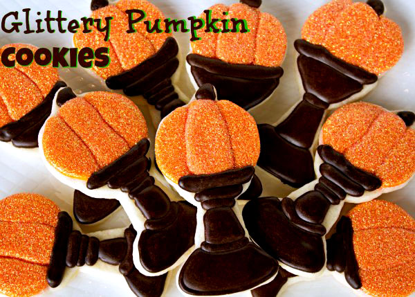 Fun Halloween Treats Glittery-Pumpkin-Cookies via thebearfootbaker.com