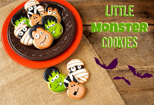 Favorites from 2013-Fun Halloween Treats Little Monster Cookies via thebearfootbaker.com