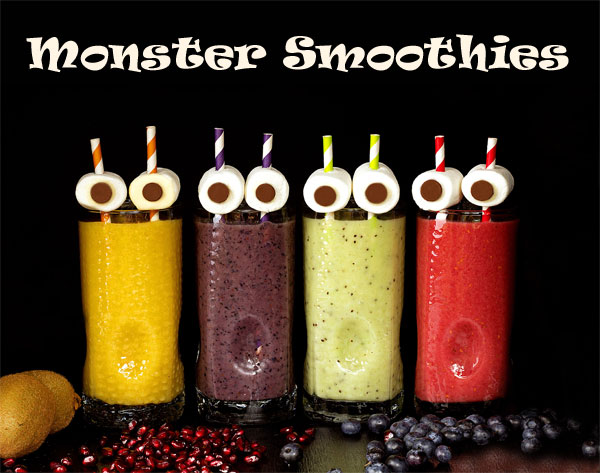 Fun Halloween Treats Monster Smoothies by thebearfootbaker.com