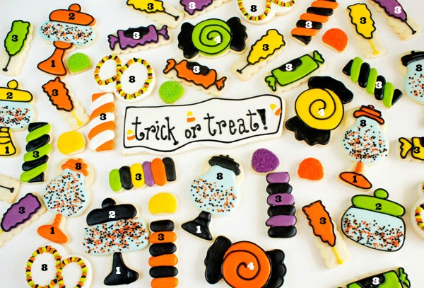 Halloween Candy Cookies Creative use of Cutters via www.thebearfootbaker.com
