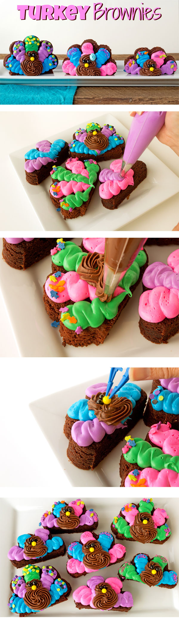Cute Simple Turkey Brownies with Funfetti Colored Frosting with www.thebearfootbaker.com