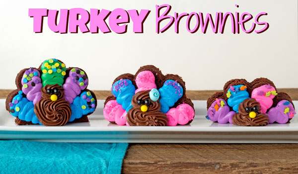 Simple Turkey Brownies made with Pillsbury Funfetti Frosting via thebearfootbaker.com