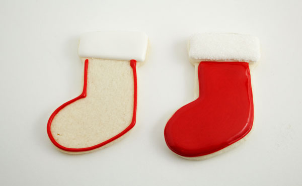 Stocking Place Card Cookies by www.thebearfootbaker.com