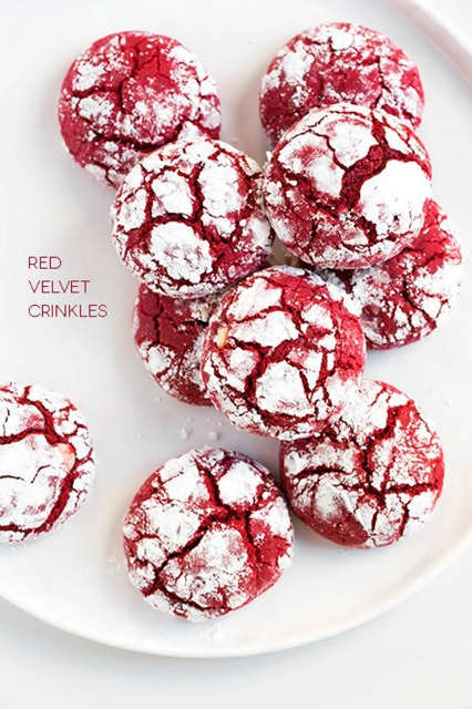 20+ Christmas Cookie Recipes via thebearfootbaker.com  Red Velvet Crinkle Cookies by Cooking Classy