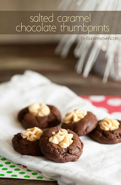 20+ Christmas Cookie Recipes via thebearfootbaker.com Salted Caramel Chocolate Thumbprints by Buns in My Oven