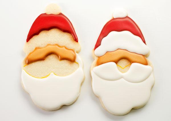 Adorable Santa Cookies via www.thebearfootbaker.com
