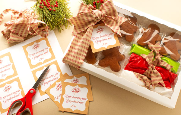gingerbread cookie recipe and how to send a box of cheer with a free printable tag - Cookie Decorating