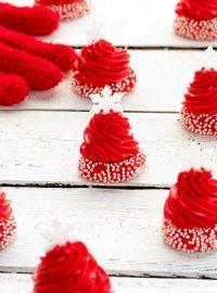 Santa Hat Christmas Thumbprint Cookies | The Bearfoot Baker