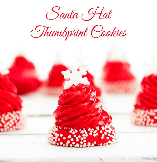 Santa Hat Thumbprint Cookies | The Bearfoot Baker