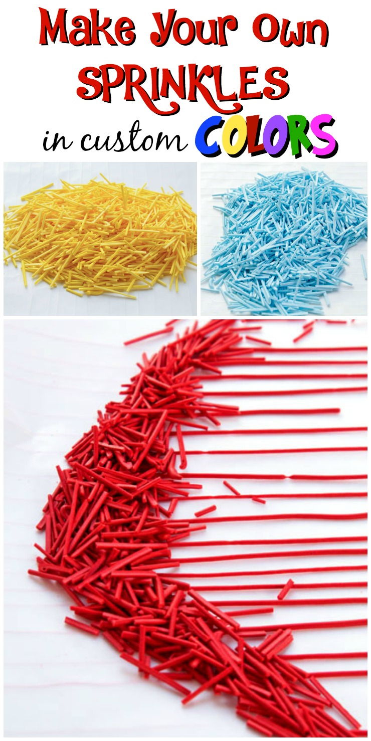Make Your Own Sprinkles in Custom Colors via www.thebearfootbaker.com