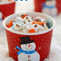 Snowman puppy chow, snack. winter food, snowman food, snowman