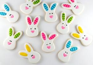 Rabbit Cookies with Chevron Ears www.thebearfootbaker.com